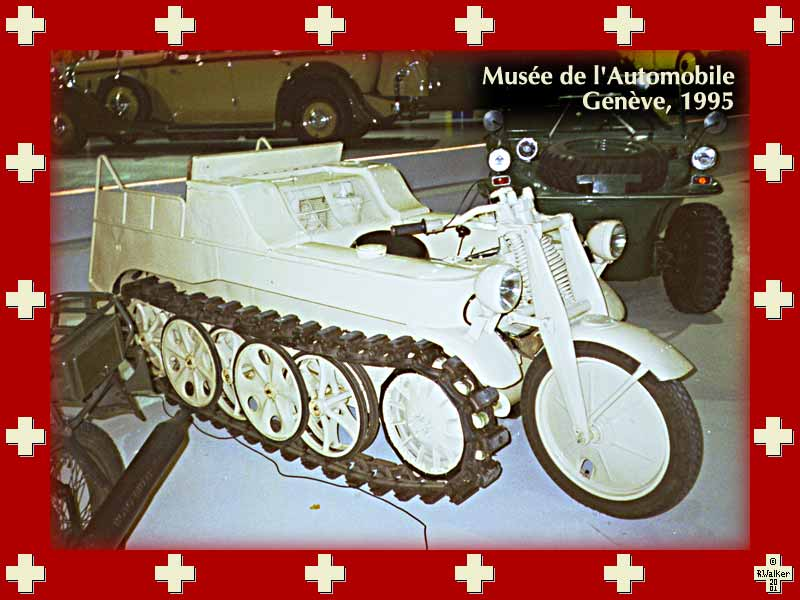 Tracked motorcycle in the Musée de l'Automobile, Geneva, 1995