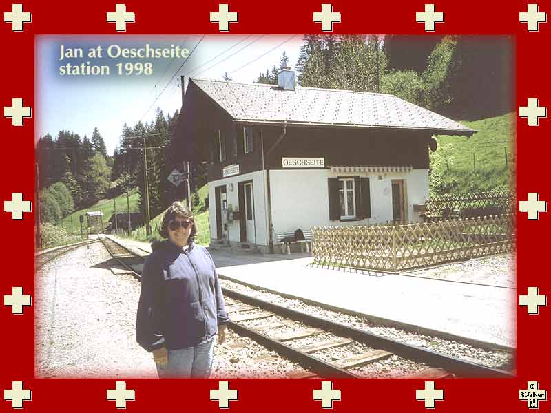 Jan at Oeschseite station (MOB line), 1998. One of my favorite stations and certain to be closed eventually. Perfect rest stop for a hike between Zweisimmen and Schönried. Interesting note - whenever your train passes this point the passengers, who are mainly Swiss, will attempt to say the name, which is apparently humorous and difficult.