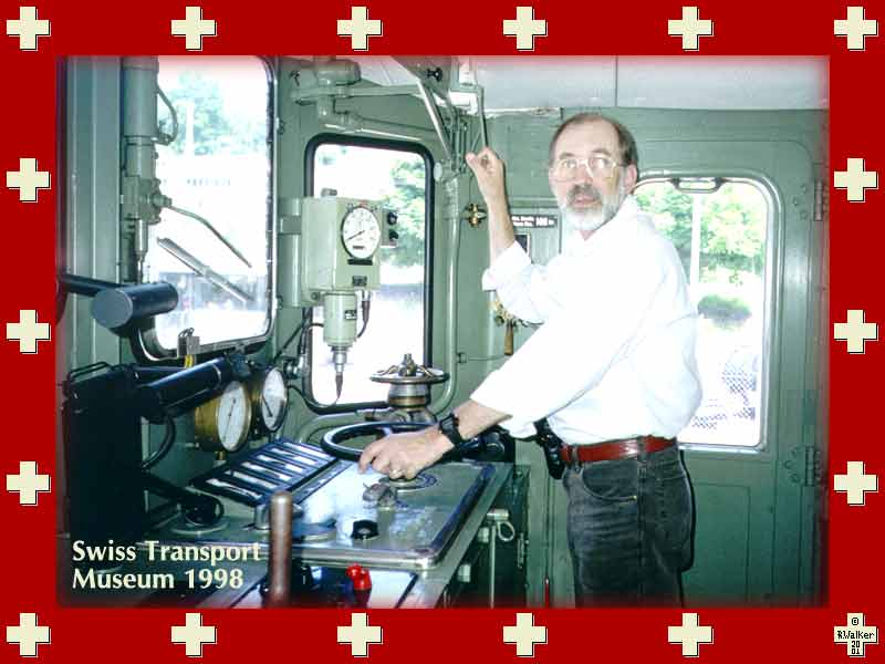 Ralph in locomotive cab at Swiss Transport Museum, 1998