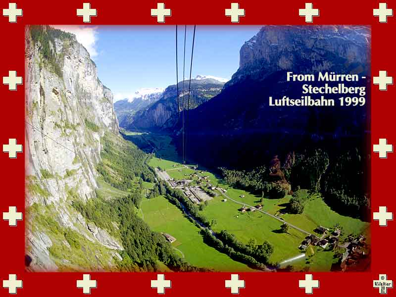 View of the Lauterbrunnen valley from the spectacular and free Stetchelberg-M&#252rren Luftseilbahn. If you continue up from the Mürren station (not free) you will reach the Schilthorn, used in a James Bond film.