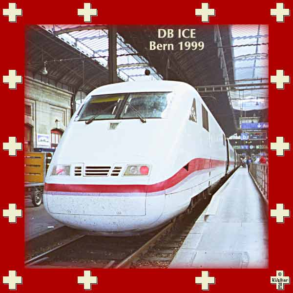 The Deutsche Bahn ICE (Inter-City Express) 'Thunersee', at Bern in 1999. This high-speed train travels from Hamburg to Interlaken, but achieves top speed only in Germany. A very fine train which we use within Switzerland frequently, and for which reservations are not needed for short trips.